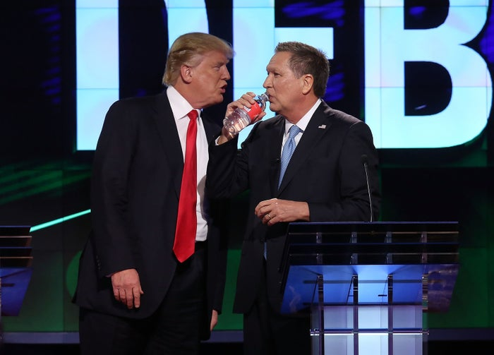 Then–presidential candidates Donald Trump and John Kasich at a Republican debate in 2016.