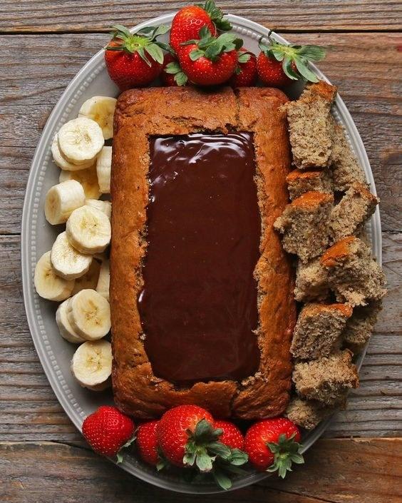 Chocolate Fondue Banana Bread Boat