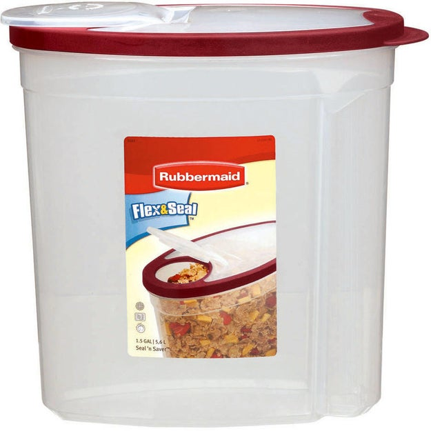 A large-mouth tub for smooth pouring. It's BPA-free and holds almost two gallons of leftover snacks.