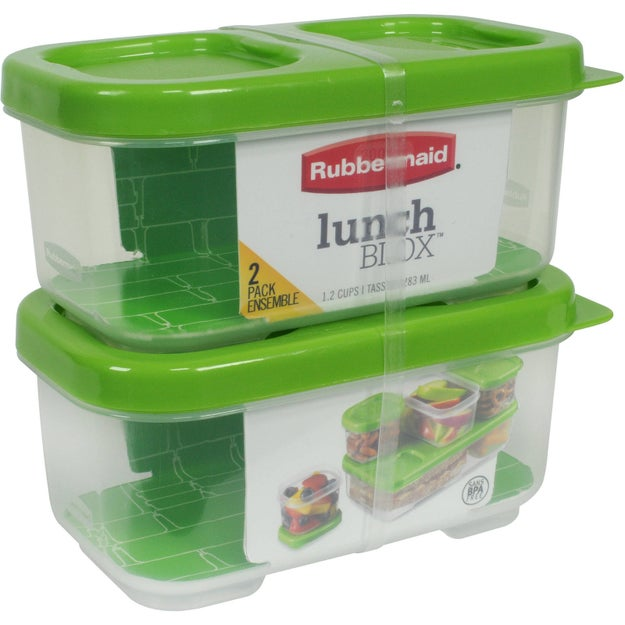 A set of storage blocks that snap together in multiple configurations to fit in nearly any lunch box.