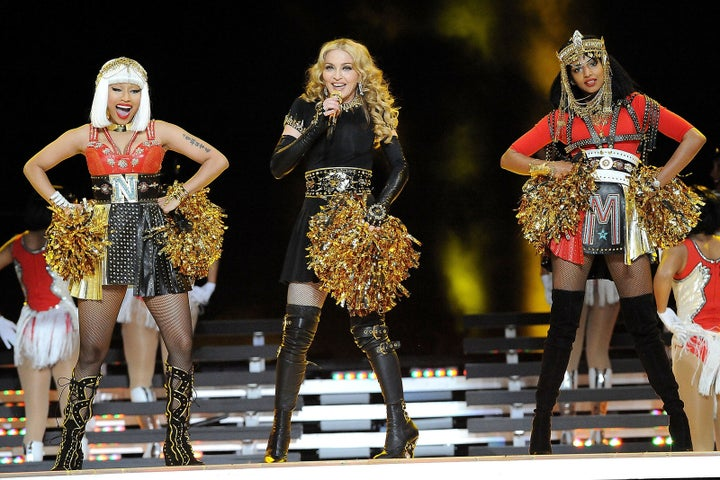 Feb. 5, 2012 — Nicki Minaj, Madonna and M.I.A. at Super Bowl XLVI in Indianapolis