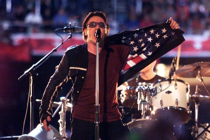 Feb. 3, 2002 — U2 at Super Bowl XXXVI in New Orleans