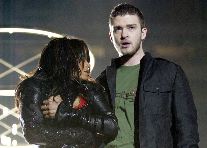 Feb. 1, 2004 — Janet Jackson and Justin Timberlake at Super Bowl XXXVIII in Houston