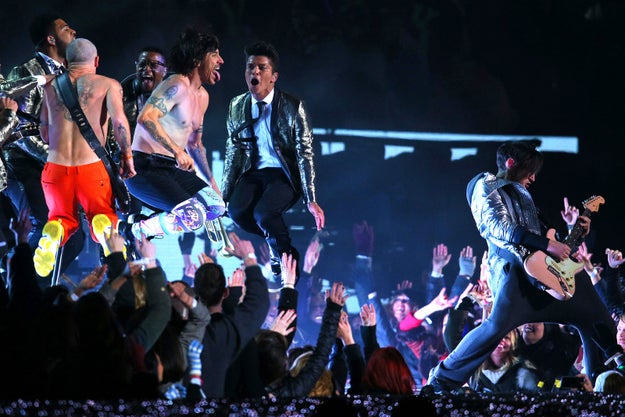 Feb 2, 2014 — Red Hot Chili Peppers and Bruno Mars at the Super Bowl XLVIII in East Rutherford, New Jersey