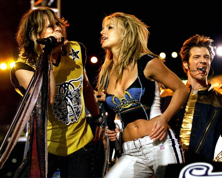 Jan. 28, 2001 — Aerosmith, Britney Spears, and NSYNC at Super Bowl XXXV in Tampa