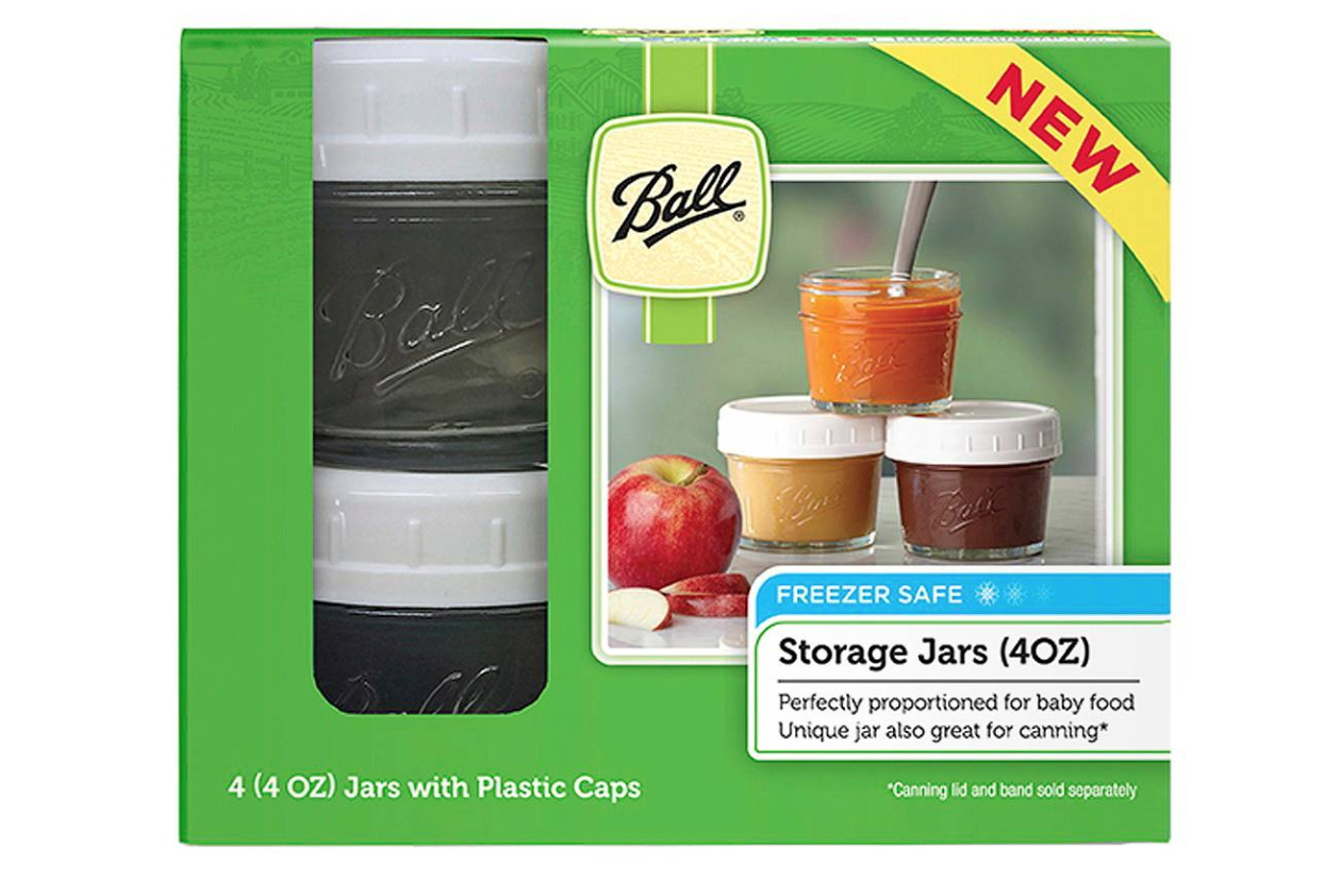 A set of four jars with BPA-free lids perfect for storing baby food.
