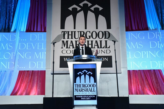 The Charles Koch Foundation's president, Brian Hooks, speaks onstage during an event for the Thurgood Marshall College Fund, which supports black colleges.