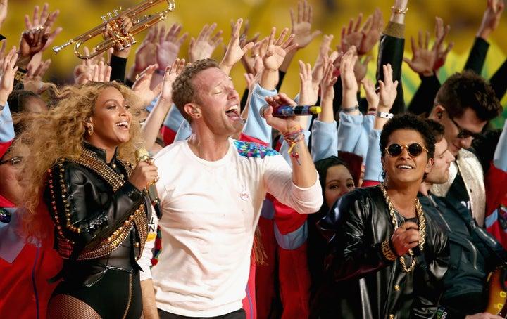 Feb. 7, 2016 — Beyoncé, Coldplay, and Bruno Mars at Super Bowl LII in Santa Clara, California