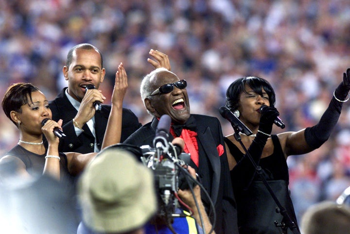 Jan. 28, 2001 — Ray Charles at Super Bowl XXXV in Tampa