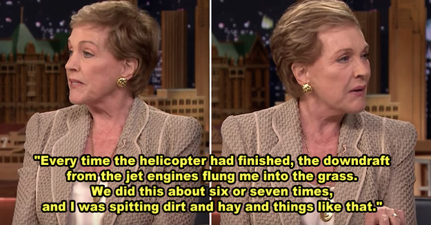 Julie Andrews was flung into the mud every time the helicopter passed her while filming that iconic hilltop scene in The Sound of Music.