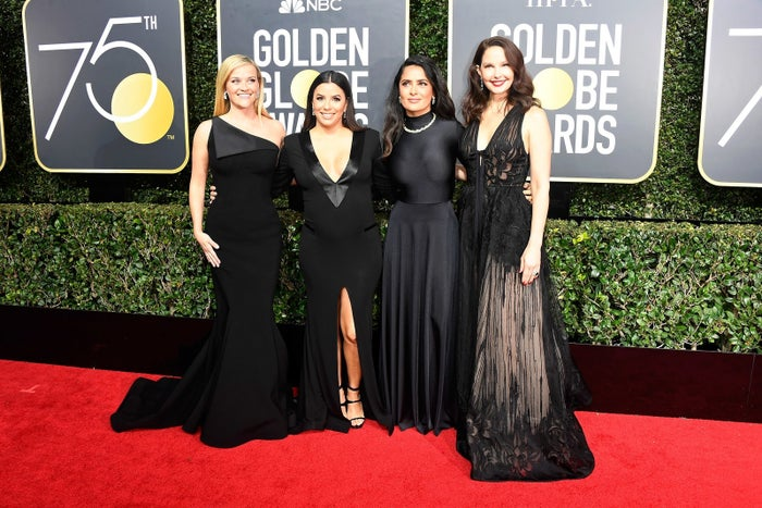 Women wore black to this year's Golden Globes in protest against sexual harassment and in support of Time's Up, a new initiative to address gender injustice in the workplace. The Hollywood-led movement came after dozens of women alleged sexual assault and harassment by producer Harvey Weinstein (he has denied sexually assaulting anyone).