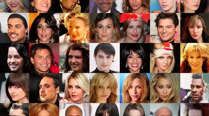 Imagens de celebridades falsas criadas por Generative Adversarial Networks, ou GANs (Redes Adversárias Gerativas, em tradução livre).