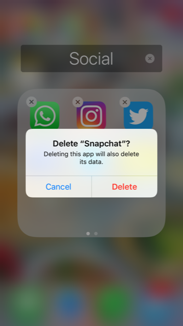 Yes, it says it will delete the data but don't worry: all your contacts and past snaps will still be there.
