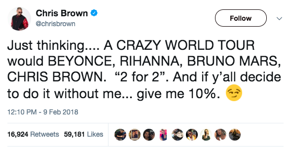"Chris Brown stirred up some controversy on Twitter yesterday, when he tweeted that he wants to go on ""a crazy world tour"" with some big-name acts — including Rihanna."