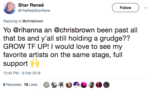 Despite the backlash, some people have come to Brown's defense — saying that because Rihanna has publicly forgiven him, it's time for the rest of the world to move on, too.