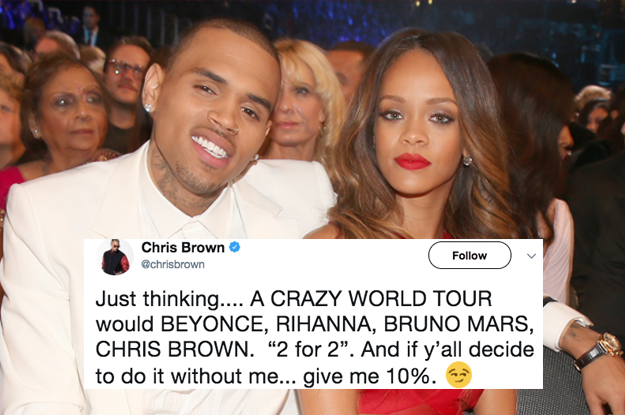Beyonce Fucked - Chris Brown Tweeted That He Wants To Go On Tour With Rihanna And People Are  Not Having It