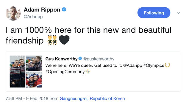 And (earnest tweets alert) celebrating his brand new and cute AF friendship with fellow out and proud Olympian Gus Kenworthy...