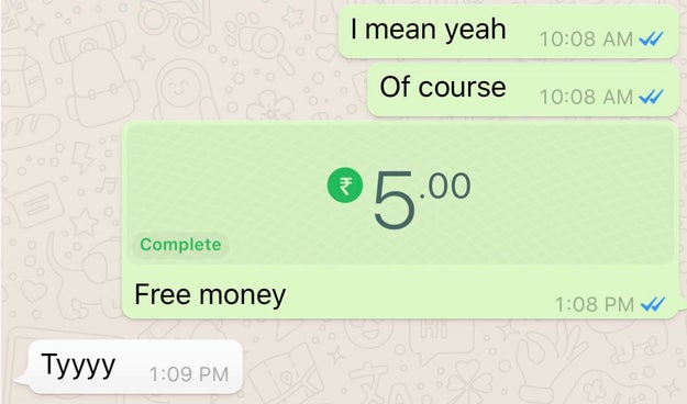 "Tapping ""Payment"" lets users enter an amount and zap it to anyone they're chatting with on WhatsApp, as long as the other person has payments enabled too."