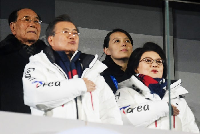 South Korean President Moon Jae-in and Kim Yo Jong at the Winter Olympics opening ceremony on Friday.