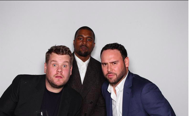 Scooter Braun, who manages Justin Bieber and Ariana Grande, posed alongside Kanye and James Corden.