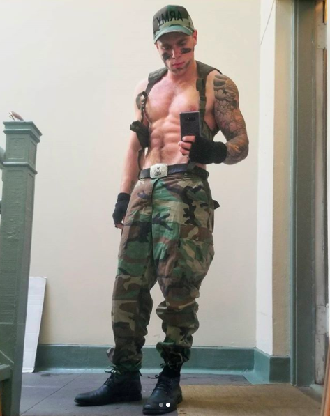 And now here's a pic of him as a sexy army man thing.