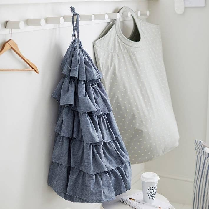 Get the ruffled bag from PBteen for $23.99 (available in two colors) and the one with polka dots for $30.99 (available in three colors). You can also get a similar product from Amazon for $15.95 (available in five colors).