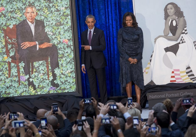 Barack and Michelle Obama had their official White House portraits unveiled at the Smithsonian's National Portrait Gallery on Monday.
