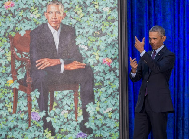 The former president was painted in a garden by Kehinde Wiley, a black artist from Brooklyn.