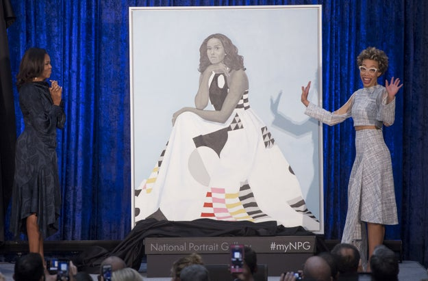 The former first lady was painted by Amy Sherald, a Baltimore-based artist.