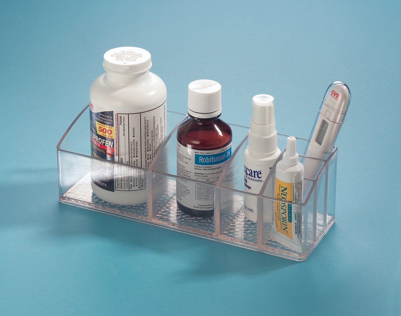 """Having an avalanche of products falling into the sink every time you open the medicine cabinet is NOT fun.Promising review: """"Was looking for an inexpensive way to organize makeup brushes and other smaller makeup items. This worked out great! Fits nicely on the countertop, and you can also fit it in a bathroom cabinet. Thick and sturdy material."""" —ShopGirl1657Price: $8.57"""
