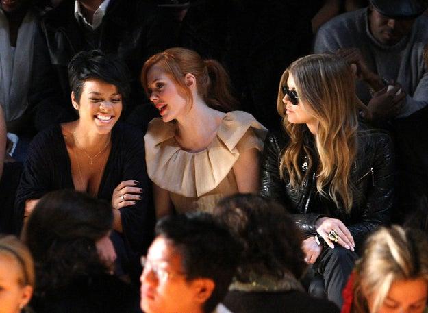 2008: Rihanna, Rose McGowan and Fergie.