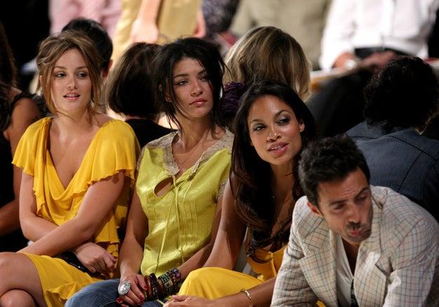 2008: Leighton Meester, Jessica Szohr, and Rosario Dawson.