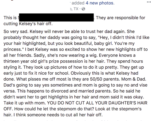 The post ignited an online firestorm. It has been shared over 25,000 times with thousands of comments, with many people criticizing Kelsey's father and stepmom.