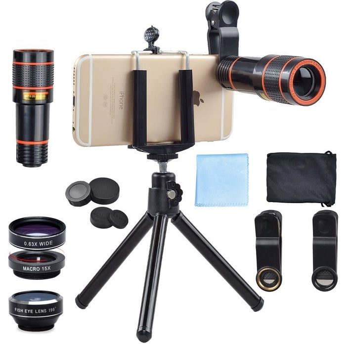 """Set includes one 12x zoom telephoto lens with manual focus ring (for high-quality, close-up shots without having to stand too close to the subject), one fisheye lens (to give pics a round, fish-bowl effect), one macro lens (to give close-up shots of crisp detailing), and one wide-angle lens (to photograph larger scenes). Attaches to almost all smartphones including: iPhone 7, iPhone 6S, 6S Plus, iPhone 6, 6 Plus, iPhone 5S, SE, Samsung Galaxy S6, S6 Edge, S7,S7 Edge, HTC, Sony, LG G6, G5, and more!Promising review: """"Very neat product. I wanted a good macro lens for my iPhone for photos of my aquariums. The x24 mag is so close up, it's basically useless for my needs, but the x12 is quite nice for those tiny details. Not to say the x24 doesn't work. It's just too unsteady for aquarium photos with my hand. Overall a fun toy to play around with and much cheaper than buying a real macro lens for a DSLR. Worth a try!."""" —PalominoFeatherPrice: $22.99"""