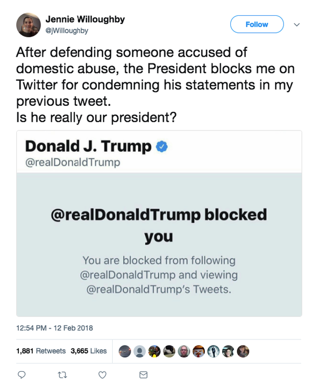 A fake account impersonating Jennie Willoughby, who said former White House staffer Rob Porter abused her while they were married, tweeted a screenshot Monday of being blocked by Donald Trump.