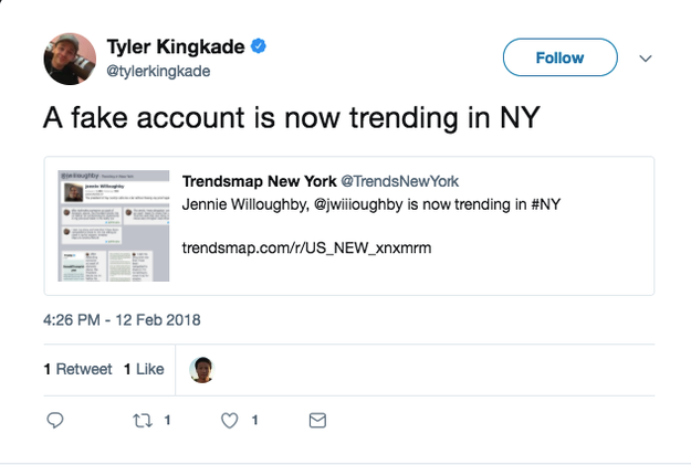 However, the fake kept spreading and fooled many Twitter users, including reporters, commentators, and attorneys. The account was also trending in New York.