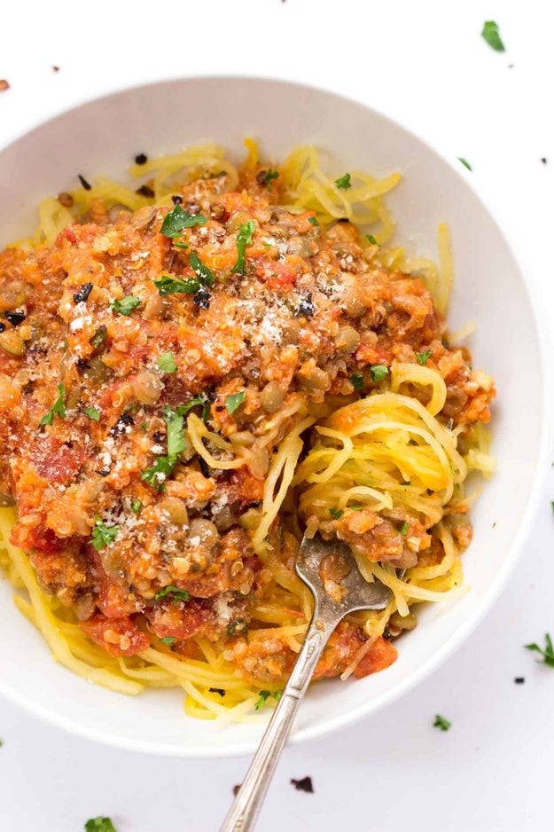 Quinoa and Lentil Bolognese with Spaghetti Squash
