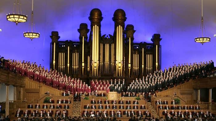 The Mormon Tabernacle Choir sings in the Salt Lake Tabernacle in Utah.