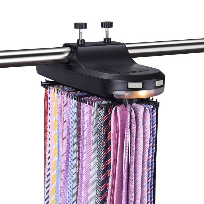 "Includes automatic rotation, LED light, and runs on 4C batteries (not included). Promising review: ""This is perfect for my growing collection of ties! The motorized tie rack holds many, many ties and I was able to color coordinate the rack so that the color selection process during those early morning hours is easier. It takes up a small amount of space for how many ties it can hold. My favorite feature is the light that can assist in easily identifying the colors. This sure helps one 'dress for success' during those morning hours."" —Amazon CustomerGet it from Amazon for $29.99."