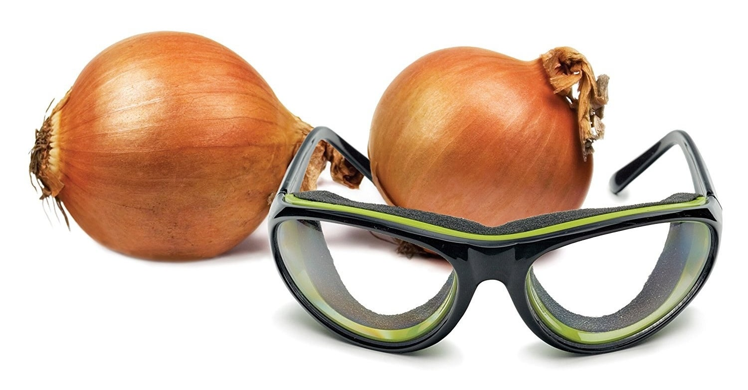 """As weird as it seems to wear goggles in the kitchen, it's the only sure-fire way to keep onions from stinging your eyes. Now the only tears flowing are tears of joy because these things work so well. Promising review: """"These work pretty well. And they look ridiculous. I chose the tortoise shell print for that understated elegance."""" —Jennifer GuerreroGet them from Amazon for $19.95 (available in five colors)."""