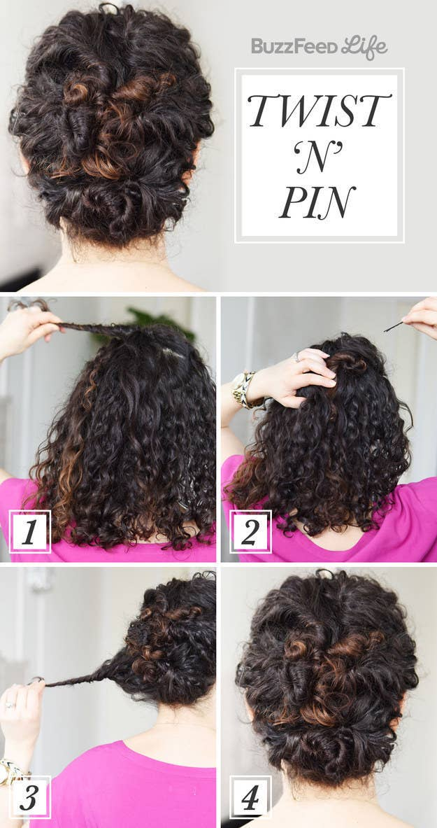 Just grab a section, twist it in a loop, and pin. It's really that easy.For more ideas, check out 19 Naturally Curly Hairstyles For When You're Already Running Late.Try these jumbo-sized bobby pins for a hairdo that will actually last all day. Check out a review of them (#3).