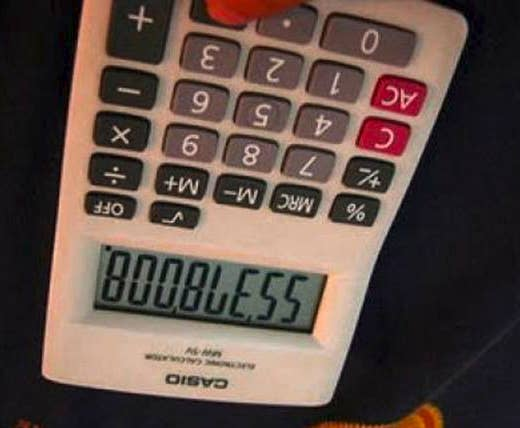 calculator reading boobless