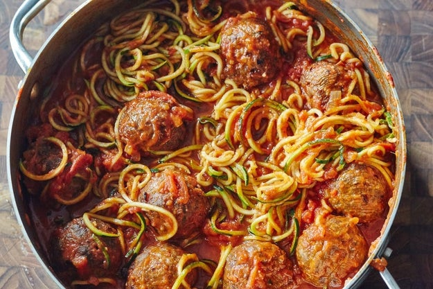 One-Pot Zoodles and Meatballs