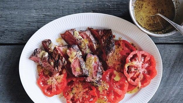 Grilled Flatiron Steak With Toasted Spice Vinaigrette