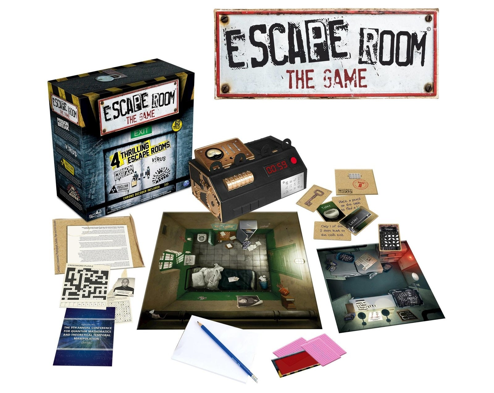 Escape The Room board game with cards and game pieces displayed