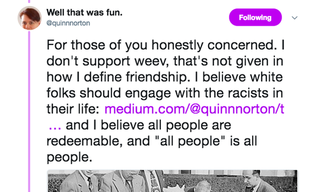 "She added that she ""doesn't support weev"" and ""white folks should engage with the racists in their life."""
