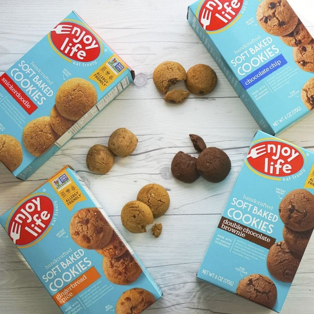 A box of Enjoy Life Soft Baked Cookies, which are perfect for dunking in a glass of milk (or nut milk).