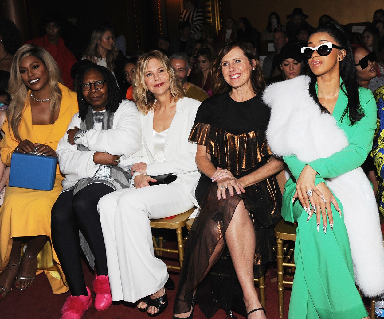 2018: Laverne Cox, Whoopi Goldberg, Meg Ryan, Molly Shannon, and Cardi B.