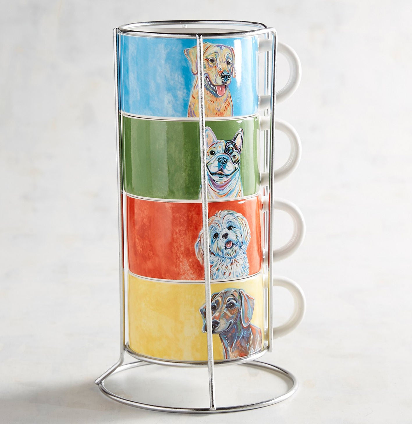 A set of four stackable stoneware mugs with their own holder for easy organizing.