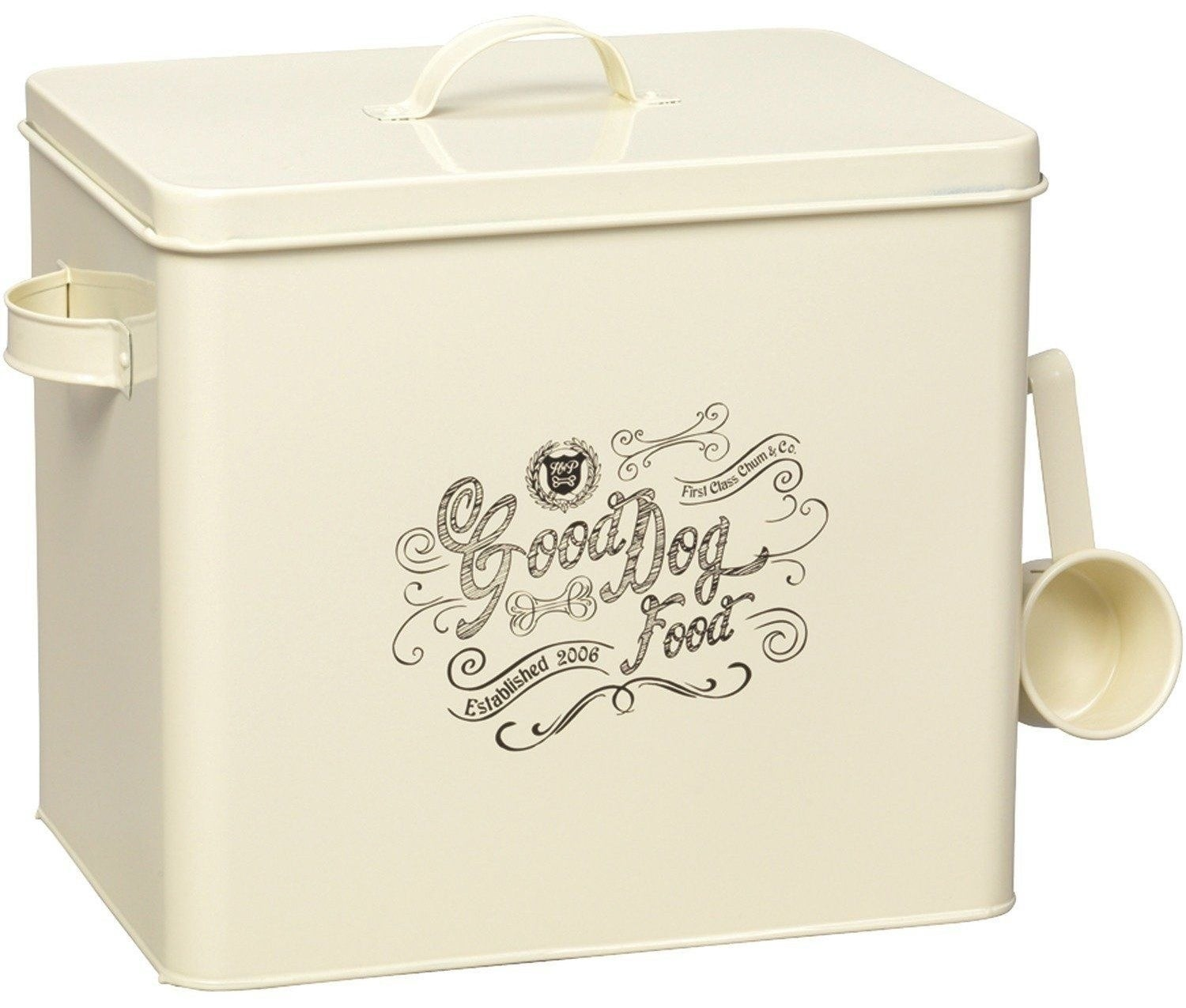 A classic dog food container that has a removable interior to use as separate bowl.